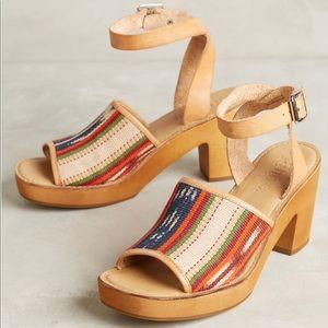 Anthropologie Latigo Inca Pattern Wood Heels